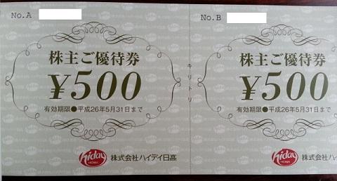 日高屋の株主優待 (1)