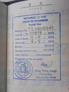 DSCF1439TOURIST VISA OF MYANMAR