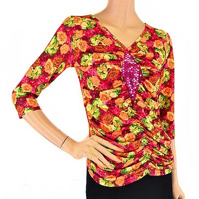 ひし形スパンコール付き春のお花柄Tシャツ