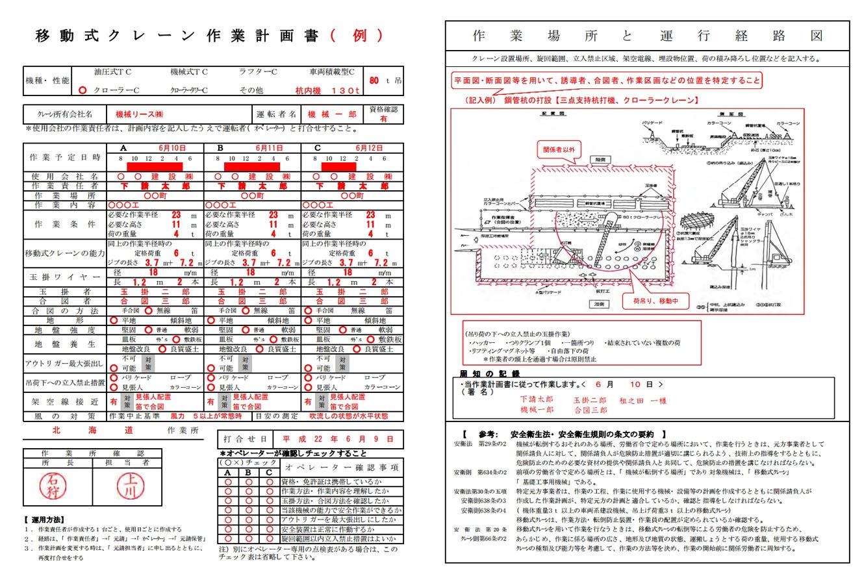 移動式クレーン作業計画書の書き方見本