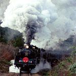 白煙を出す汽車