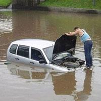 水没した自動車