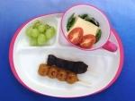 串団子と卵豆腐とぶどう