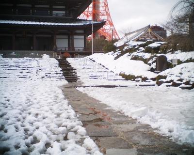 雪がやんだ増上寺で:R2