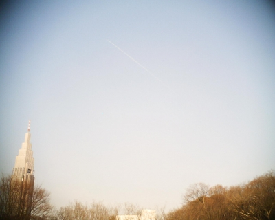 明治神宮御苑で飛行機雲:R2