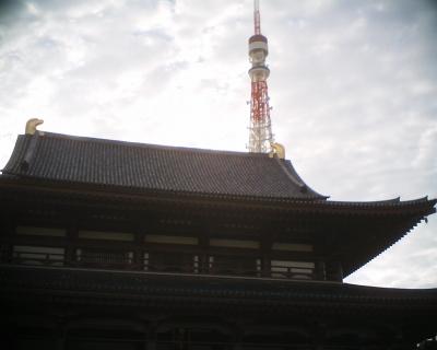 増上寺と東京タワーと秋の空が:R2