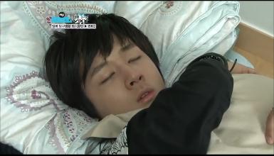 寝ているラビ