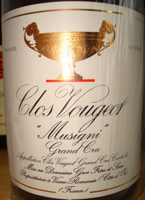 Clos Vougeot Musigni Grand Cru Domaine Gros Fiere 1999