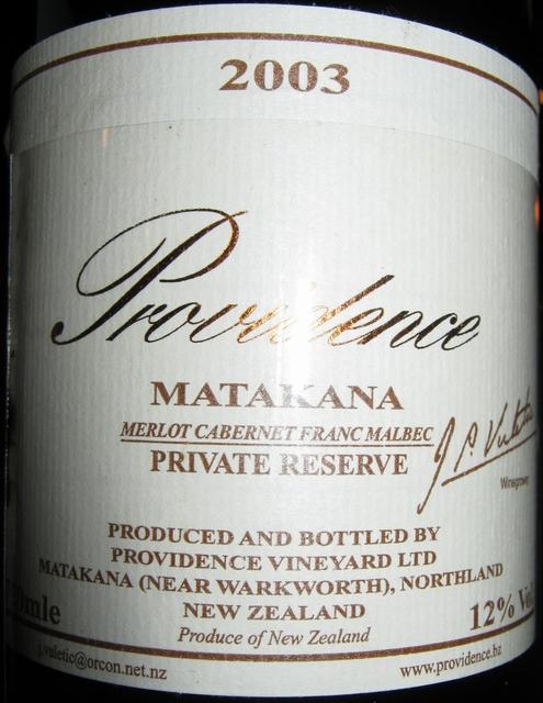 Providence Private Reserve Matakana 2003