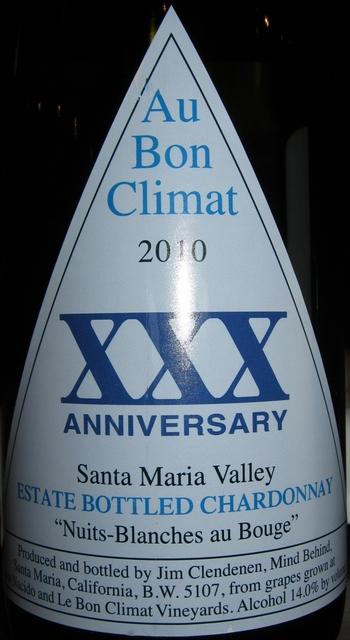 Au Bon Climat Chardonnay Nuit Blanches au Bouge 2010
