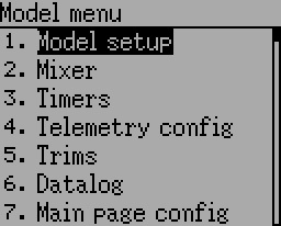 Advanced Model menu