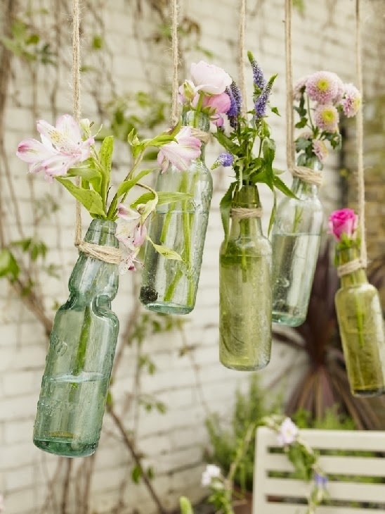 DIY botellas cristal flores