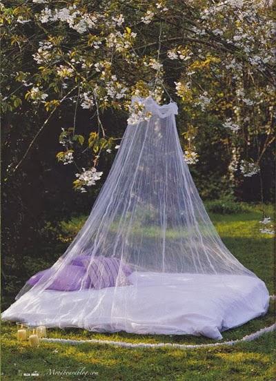 cama en jardin
