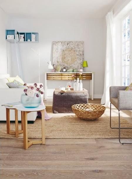 salon blanco madera natural