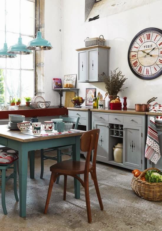 cocina bohemia muebles pintados