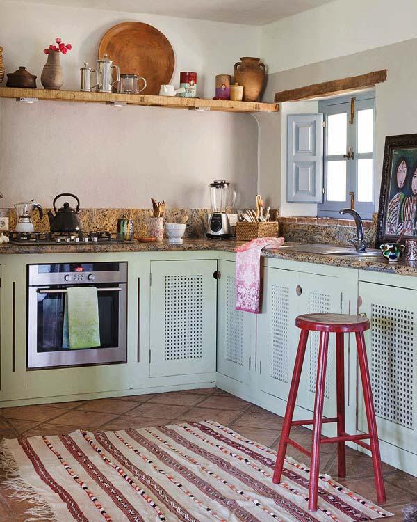 cocina rustica muebles pintados