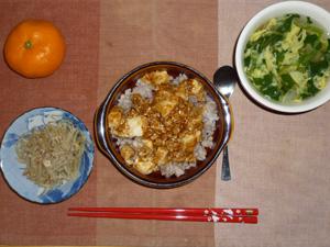 麻婆豆腐丼,ひき肉ともやしの炒め物,ほうれん草と玉子のスープ,みかん