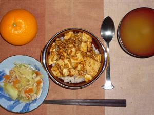 麻婆豆腐丼,野菜とひき肉の炒め物,ワカメのおみそ汁,みかん