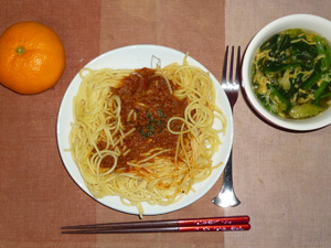 スパゲティ茄子入りミートソース,ほうれん草と玉子の中華スープ,みかん