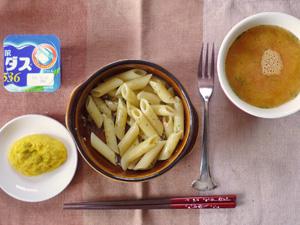 ペンネスパイシーチキンソース,プチオムレツ,トマトスープ,ヨーグルト