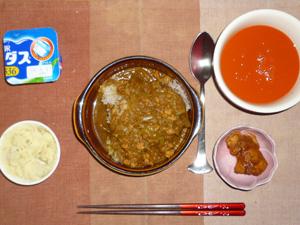 スパイシーチキンカレーライス,鶏の唐揚げ,マッシュポテト,キャロットスープ,ヨーグルト