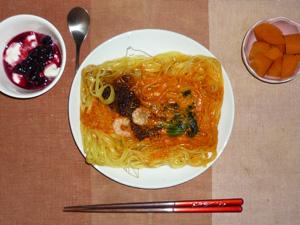 汁なし担々麺,ニンジンの煮物,ヨーグルトのハスカップジャム添え