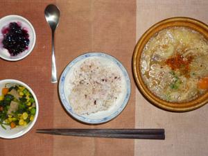 胚芽押麦入り五穀米,ほうれん草とミックスベジタブルのソテー,豚汁,ヨーグルトのハスカップジャム添え