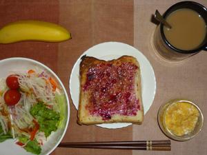 ブルーベリージャムトースト,サラダ,ひき肉入りスクランブルエッグ