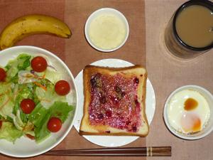 ブルーベリージャムトースト,サラダ,目玉焼き,マッシュポテト,バナナ,コーヒー
