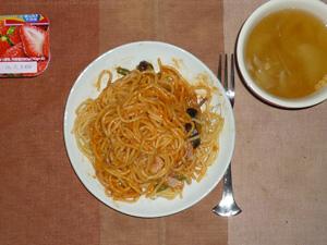 アスパラとベーコンのトマトクリームスパゲッティ,玉葱のスープ,ヨーグルト