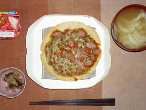 ピッツァピカンテ,茄子とツナの炒め物,玉葱のおみそ汁,ヨーグルト