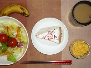 レアチーズケーキ,サラダ,ひき肉入りスクランブルエッグ,バナナ,コーヒー
