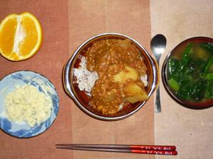 トマトカレーライス,マッシュポテト,ほうれん草のおみそ汁,オレンジ