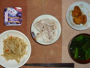 胚芽押麦入り五穀米,もやしの味噌煮込み,鶏の唐揚げおろしソース,ほうれん草のおみそ汁,ヨーグルト