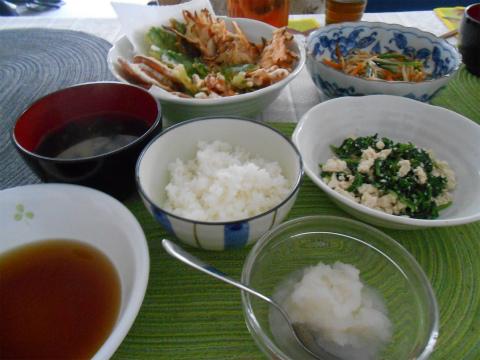 天ぷらで夕食