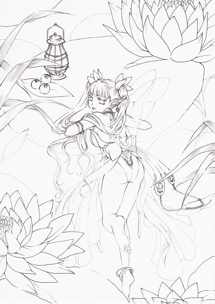 睡蓮の妖精(線画)