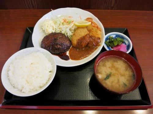テリヤキハンバーグとヒレカツ定食
