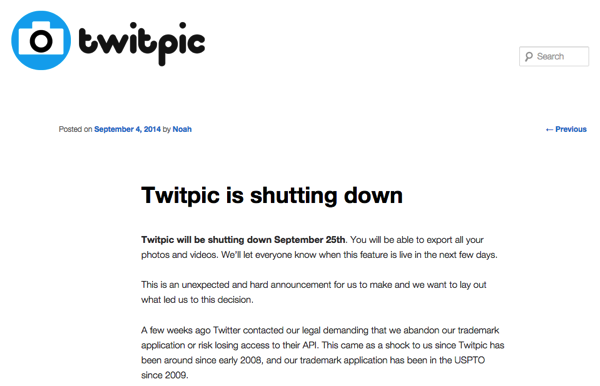 Twitpic will be shutting down