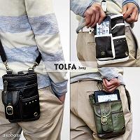 【TOLFA 軽量 ウエストバッグ メンズ PUレザー (グリーン)】TO-D002 3WAY フック ショルダーバッグ 合成皮革 合皮 フェイクレザー 携帯入れ 携帯 ポーチ ケース