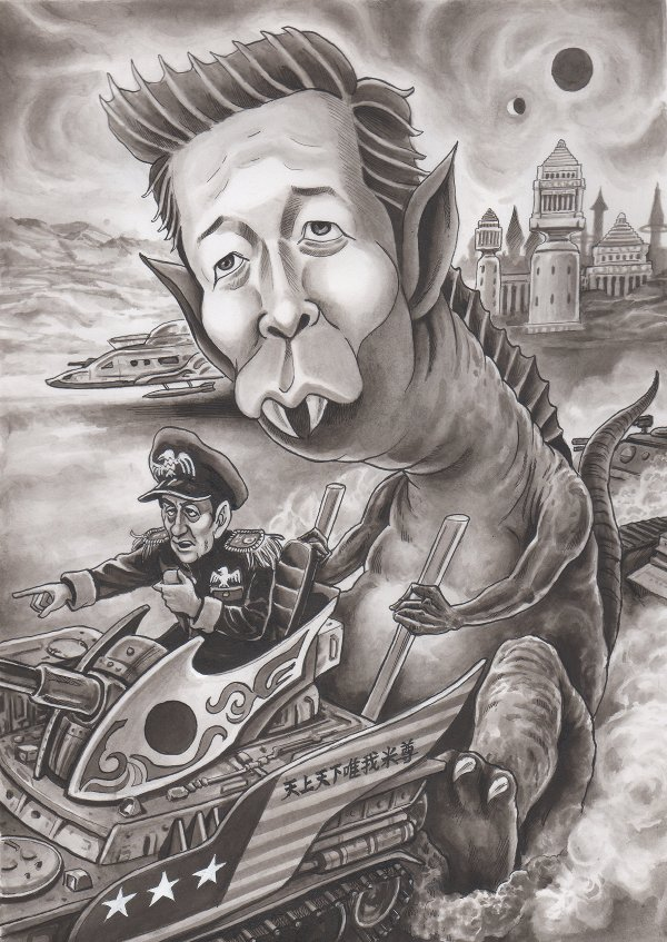 山口那津男公明党代表、集団的自衛権の風刺漫画