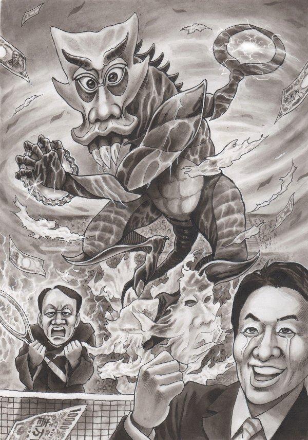 錦織圭、松岡修造 マイケル.チャン 風刺漫画