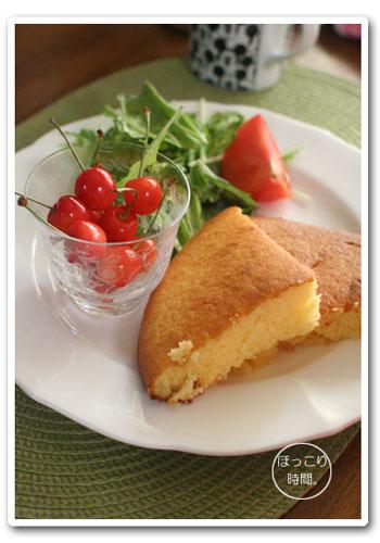 クマちゃんのフライパン・パンケーキで朝ごはん。