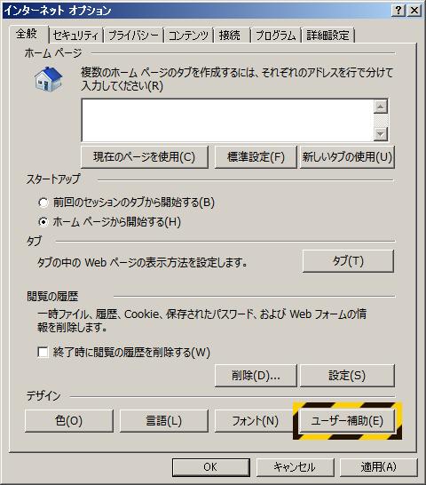 IE インターネットオプション ユーザー補助