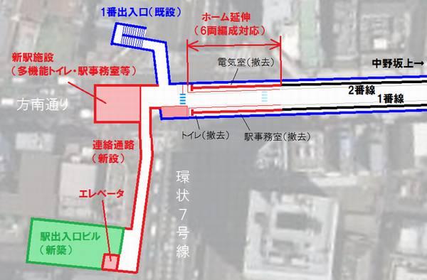 方南町駅改良工事の概要と新設される駅ビルの位置図